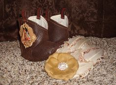 Western Boots with a Horse Applique and a Headband to match! by RusticAttitude on Etsy