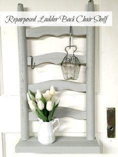 Repurposed Ladder Back Chair Shelf www.homeroad.net