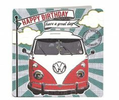 Camper Van VW Happy Birthday Have A Great Day Laura Darrington Design Card - £2.95.