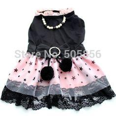Preto e rosa vestido de princesa roupas e estrelas, Saia de pet, 5 tamanhos disponíveis