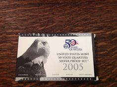 2005-S U.S. MINT STATE QUARTERS SILVER PROOF SET...5 COINS...BOX & COA