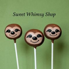 12 Cute Sloth Cake Pops for Zootopia party by SweetWhimsyShop
