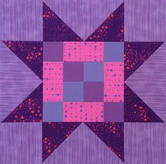 Sawtooth Star Quilt Block with Frayed Four Patch center