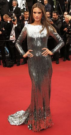 Alessandra Ambrosio in silver sequin gown at Cannes 2013