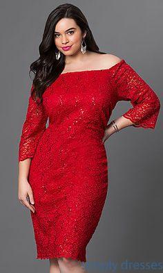Knee Length Lace Off-the-Shoulder Dress
