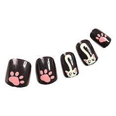 QINF 24PCS Cat Black Full Cover Nail Tips *** Click image to review more details.