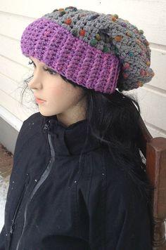 Gray Crochet Hat, Slouchy Winter Hat,  Oversized Baggy Beanie, Women's Ski Hat, Girl Hat, Chunky Hat