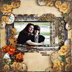Scraps of Darkness scrapbook kits: Laura Gilhuly created this fabulous mother and son layout with the Marions Smith Designs Time Keeper papers that were in our Sept. Tanya's Industrial Odyssey kit. Find our kits here: www.scrapsofdarkness.com