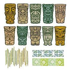 totem: Tiki Totems tribales isla natal con elementos de borde