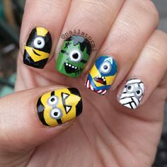 aaaha these are so stinkin' adorable!! halloween minions by nailstorm1 #nail #nails #nailart