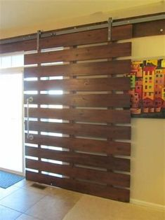 Installing interior barn door hardware can transform the look of your room. Read these steps in buying interior barn door hardware. Pallet Projects, Home Projects, Pallet Ideas, Sweet Home, Diy Casa, Barn Door Hardware, Door Hinges, Door Latches, Interior Barn Doors
