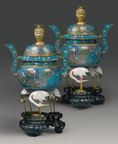A RARE AND IMPRESSIVE PAIR OF CLOISONNE ENAMEL CENSERS AND COVERS<br>QING DYNASTY, 18TH / EARLY 19TH CENTURY | lot | Sotheby's