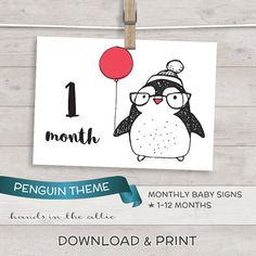 DIY baby photo props monthly baby photo signs - PENGUIN picture props for babies 12 months - printable and DIGITAL download by HandsInTheAttic