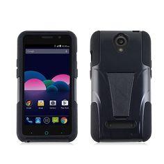 ZTE Z820 OBSIDIAN HYBRID BLACK HARD PLASTIC PHONE CASE/SKIN STAND