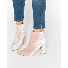 Daisy Street Pink Crushed Velvet Point Heeled Ankle Boots ($54) ❤ liked on Polyvore featuring shoes, boots, ankle booties, pink, pointy toe boots, pink booties, pointy-toe ankle boots, pointy booties and high heel ankle boots