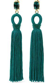 Oscar de la Renta | Tasseled silk, gold-tone and Swarovski crystal clip earrings | NET-A-PORTER.COM