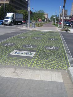 Note the trail marker in the crosswalk design.  Indy, IN