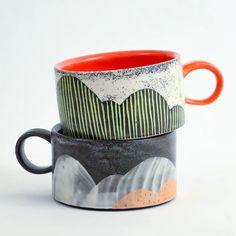 Ceramic Mugs, Ceramic Pottery, Pottery Art, Ceramic Art, Ceramics Pottery Mugs, Ceramic Shop, Ceramic Tableware, Slab Pottery, Pottery Studio