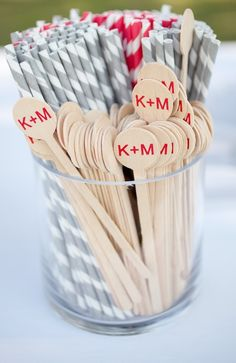 paper straws and monogrammed drink stirrers, Photography By / http://paulaplayer.com,Wedding Planning By / http://stunningandbrilliantevents.com