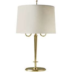 Swedish Art Deco Table Lamp In Solid Polished Brass With Double Sockets.