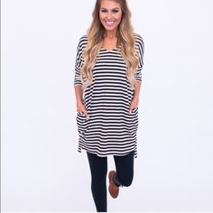 Striped shirt dress Black and cream striped shirt dress brand new with tags bought from another posher but unfortunately doesn't fit me right - size small but is oversized. I do not trade & only accept offers through offer button  Tops Tees - Long Sleeve
