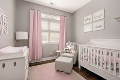 Larkin Convertible Crib is part of Baby girl nursery pink This beautiful, heirloomquality piece is a onetime investment that will grow with your child all the way through the teen years This p - Baby Bedroom, Baby Room Decor, Nursery Room, Bedroom Decor, Girl Nursery Decor, Girl Bedrooms, Nursery Themes, Nursery Ideas, Pink And Gray Nursery