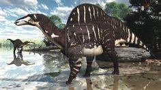 Ouranosaurus [Suchomimus in the background] by PaleoGuy.deviantart.com on @deviantART