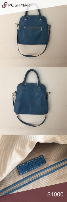 Talbots turquoise blue cross body/top handle bag Beautiful talbots top handle turquoise blue purse. Top handle/cross body. Small pocket in front. Small stain in front(see pictures) Talbots Bags Crossbody Bags
