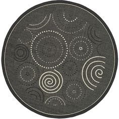 Give any space a contemporary update with this chic indoor outdoor rug. Featuring a circle and spiral pattern on a black background, this polypropylene rug is resistant to mold, mildew, and the elements. The neutral tones are sure to enhance any area.