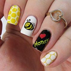 Honey Bee Nail Art with Honeycomb Nail Vinyls