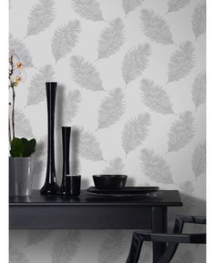 Holden Statement Wallpaper - Fawning Feather Grey and Silver - 12626 Feather Wallpaper, Silver Wallpaper, Butterfly Wallpaper, New Wallpaper, Grey And White Wallpaper, Striped Wallpaper, Girls Bedroom Wallpaper, Healthy Living Magazine, Color Inspiration