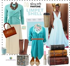 Limpet Shell: A Spring 2016 Pantone color. This aqua hue looks fab with browns, tans, pinks -- and a whole bunch of other colors.
