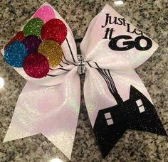 Just Let it Go White Glitter UP!  Cheer Bow