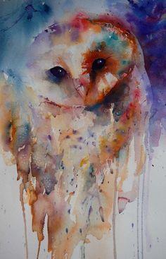 Ink Splatter Owl Tattoo