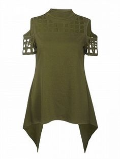 Shop Green High Neck Lattice Cut Out Split Back Cold Shoulder Top from choies.com .Free shipping Worldwide.$14.39