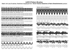 Adobe Illustrator Fashion Brushes $24.95 - Lace Brushes, floral lace, lace trim, scalloped lace