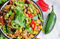 Easy Mexican Freekeh Pilaf || onion, zucchini, red bell, corn, kidney beans, tomato, freekeh, cilantro, jalapeño, lime