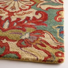 Floral Medallion Tufted Wool Rug at World Market Affordable Area Rugs, Affordable Home Decor, Living Room Update, My Living Room, Teal Rug, Rug World, Red And Teal, Red Sofa, Red Rugs