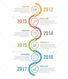 Vertical Timeline Infographics Template PSD, Vector EPS, AI Illustrator #InfographicsIcons