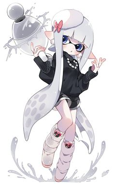 Pin by spriggans delight on kawaii Nintendo Splatoon, Splatoon 2 Art, Splatoon Comics, Anime Kunst, Anime Art, Illustration Kawaii, Chibi, Squid Girl, Character Art