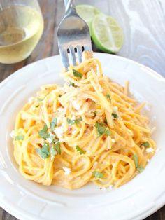 Gluten-Free Mexican Corn Pasta with Chipotle Alfredo. So delish!