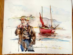 fisherman and red boat, watercolor painting by charles reid