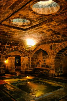 "Pisirici kasteli (Gaziantep) / Turkish Water architecture ...... The ""kastel"" (fountain) used to be part of a bigger group of buildings, and it is thought to have been built in 1282. ""Kastels"" are water fountains built below ground, and they are structures peculiar to Gaziantep. They are places for ablution, prayer, washing and relaxation."