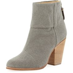 Rag & Bone Newbury Canvas Ankle Boot, Dark Gray ($370) ❤ liked on Polyvore featuring shoes, boots, ankle booties, ankle boots, rag bone booties, high heel boots, high heel booties and back zipper boots