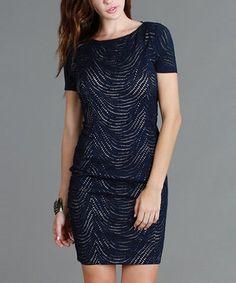 Another great find on #zulily! Navy Swirl Cap-Sleeve Dress by NIKIBIKI #zulilyfinds