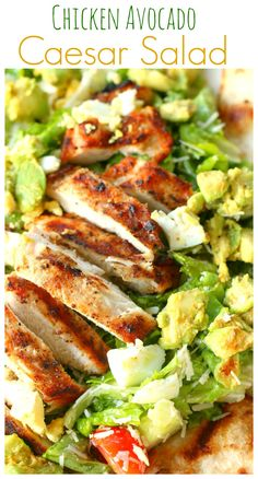 Perfectly grilled chicken with tasty avocado & Parmesan cheese over a bed of fresh lettuce, and garnished with grilled garlic cheese tortilla slices.