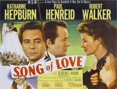 Song of Love (1947) is a biopic starring Katharine Hepburn, Paul Henreid, Robert Walker, and Leo G. Carroll, directed by Clarence Brown and released by Metro-Goldwyn-Mayer. Hepburn plays Clara Wieck, Henreid plays Robert Schumann, Walker plays Johannes Brahms, and Henry Daniell plays Franz Liszt