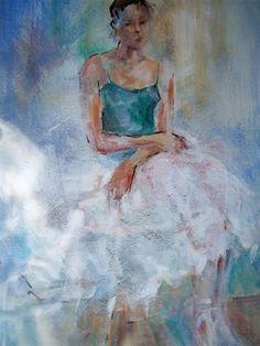 Ballet 54 - Ballerina Sitting Elegantly - Gallery of Ballet & Dancing Pictures by Woking Surrey Artist Sera Knight