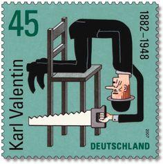 """Briefmarke der Deutschen Post AG mit dem Motiv """"125. Geburtstag Karl Valentin"""""""