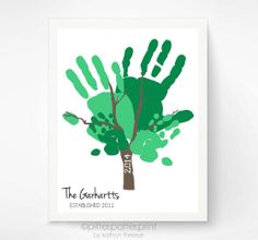 Family Tree Hand Print Art, Personalized Family Portrait, Custom Father's Day Gift, Baby Hand Print Wall Art, 11x14 Art Print